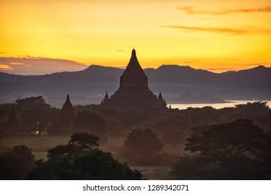 Pagoda and Dusk scenery at Old Bagan, Myanmar