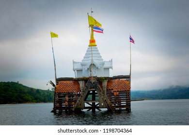 The pagoda was flooded. The pagoda was flooded in Kanchanaburi province in the west of Thailand.