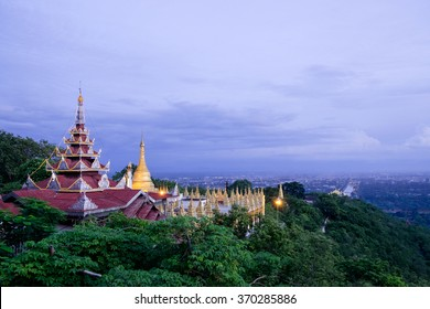pagoda in forest on Mandalay Hill with sky evening background