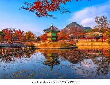 pagoda at gyeongbokgung palace in autumn seoul south Korea