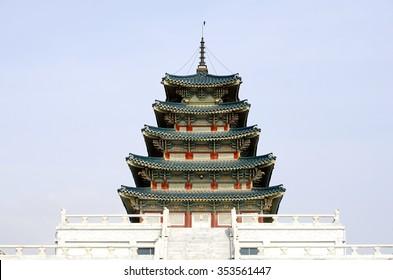 Pagoda at Gyeongbokgung Palace, National Folk Museum, Seoul, South Korea
