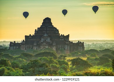 Pagoda and Hot-Air Balloons at Old Bagan, Myanmar