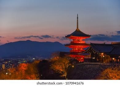 Pagoda of Kiyomizu Temple during sunset, Kyoto, Japan