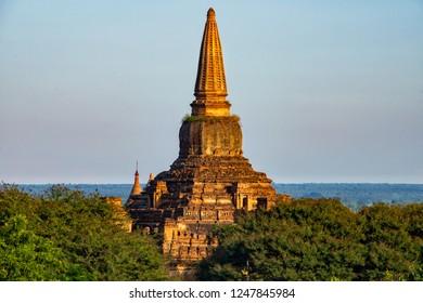 Pagoda in the morning at Old Bagan, Myanmar