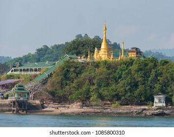 Pagoda near the ferry pier in Kyunsu on Kadan Kyun, previously King Island, the biggest island of the Myeik Archipelago, formerly the Mergui Archipelago, in the Tanintharyi Region of Myanmar.