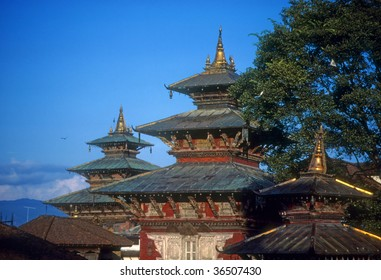 Pagoda near the river,   Kathmandu, Nepal, Asia