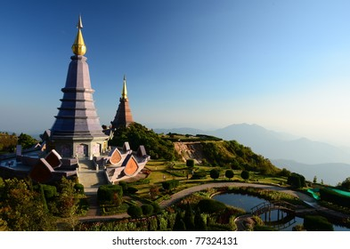 Pagoda on the top of mountain  Inthanon, Chiang Mai, Thailand.