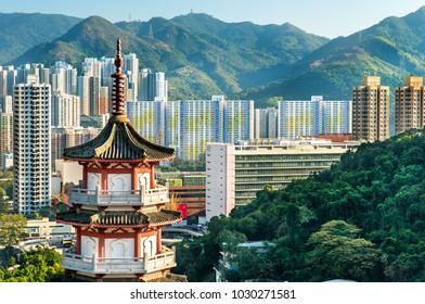 Pagoda at Po Fook Hill Columbarium and Sha Tin skyline in Hong Kong, China