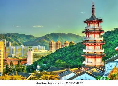 Pagoda at Po Fook Hill Columbarium in Hong Kong, China