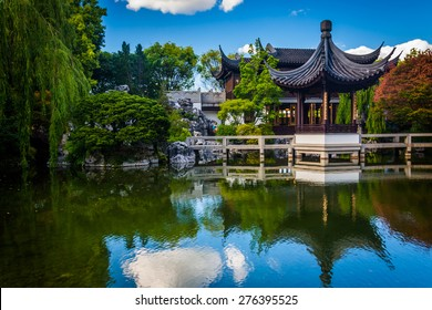 Pagoda reflecting in a pond at the Lan Su Chinese Garden, in Portland, Oregon.