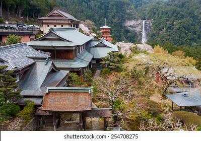 The pagoda of Seigantoji and Nachi no Taki waterfall, in Nachi, Wakayama Prefecture, Japan