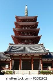 Pagoda at Senso-ji Buddhist Shrine in Tokyo, Japan