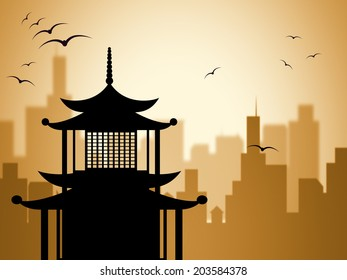 Pagoda Silhouette Representing Asian Buddhism And Religion