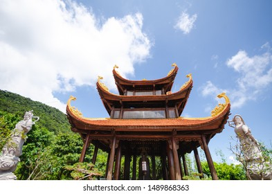 Pagoda and statue. Buddist temple on Phu Quoc island, Vietnam in South Asia