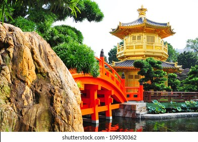 Pagoda style Chinese architecture in garden, Hong Kong