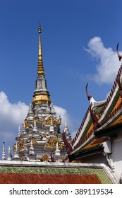 The pagoda and temple in the blue sky background.