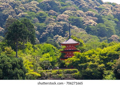 A pagoda in the trees forest with mountain background, Kyoto, Kansai, Japan.