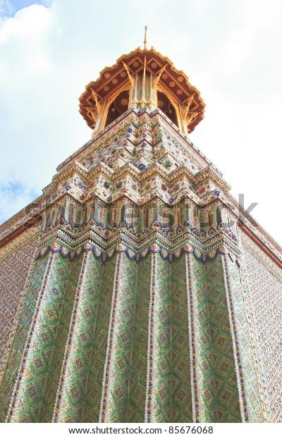 pagoda wall texture in grand palace -thailand