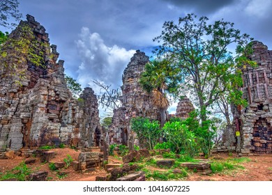 Pagoda of the Wat Banan old Khmer civilization temple, Cambodia, HDR Photo