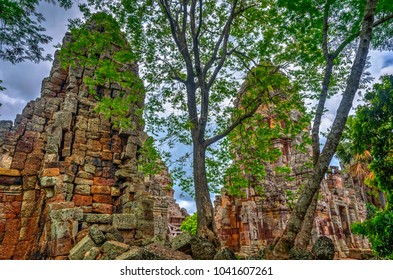Pagoda of the Wat Banan old Khmer civilization temple, Cambodia
