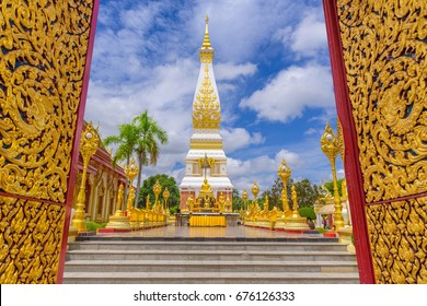 The  Pagoda of Wat Phra That Panom temple in Nakhon Phanom, Thailand. Open the door to Wat Phra That Panom temple. Wat Phra That Phanom is the sacred precinct of the Phra That Phanom chedi.
