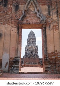 Pagoda in Wat Ratcha Burana Temple in historic site of Ayuthaya province