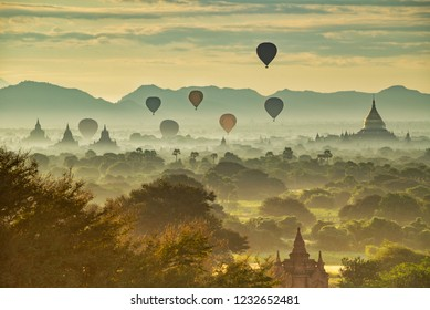 Pagodas, hot-air balloons, and the misty land of Old Bagan, Myanmar