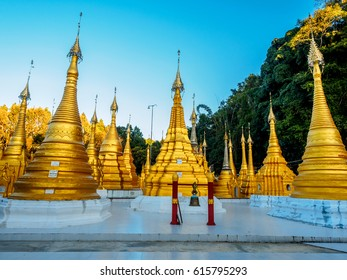 Pagodas with the name of the donors' are written on their base, of the Shwe Oo Min cave temple, in Myanmar