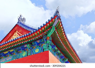 Pagodas, pavilions within the complex of the Temple of Heaven in Beijing, China.