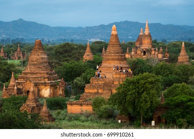Pagodas and spires of the temples of the World Heritage site in the early morning light at Bagan, Maynmar