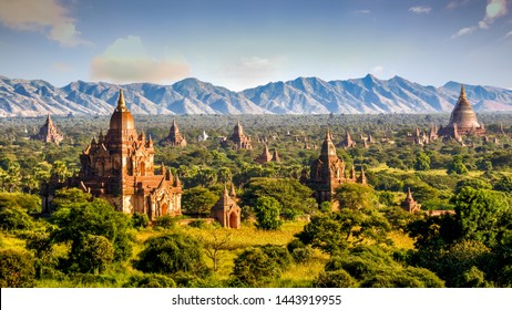 Pagodas and temples of Bagan, in Myanmar, formerly Burma, a world heritage site.