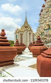 pagodas  in Wat Arun Ratchatharam or Temple of the Dawn, Bangkok, Thailand