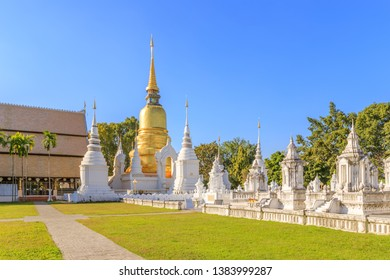 Pagodas at Wat Suan Dok Temple in Chiang Mai, North of Thailand