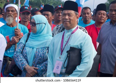 Pagoh, Johor/Malaysia - 28th April, 2018: Ousted Deputy Prime Minister of Malaysia, Muhyiddin Yassin with his supporters at the recent nomination registration for the upcoming General Election.