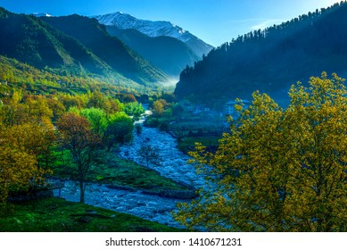 Pahalgam, Kashmir, India - April 29, 2019. Pahalgam is located in the state of Jammu and Kashmir. Situated at an altitude of 2130 meters above sea level and positioned besides the Lidder River.