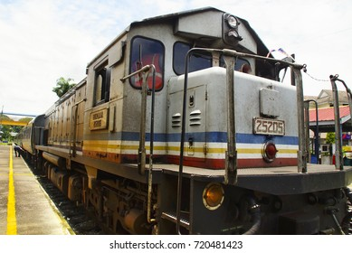 Pahang ,Malaysia , 12th September 2017 - Old Train no 25205 is on the runway is a Keretapi Tanah Melayu Berhad (KTM) Malayan Railways Limited is the main rail operator in Peninsular Malaysia.