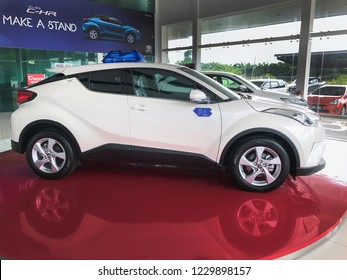 Pahang, Malaysia - 14 November 2018 : A new Toyota C-HR in show room in toyota centre in 2018. Toyota C-HR one of beautiful SUV model in in a market.