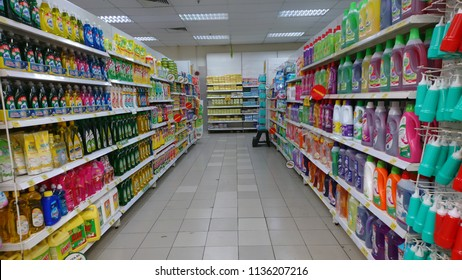 Pahang, Malaysia - 17th July 2018 : Aisle view in Giant Supermarket Kuantan, Pahang. Giant Supermarket is one of largest players of retail industry in Malaysia.