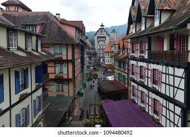 Pahang, Malaysia - 19 MAY 2018 : View around Colmar Tropical resort at Berjaya Hill, a famous resort for its' europe architecture and tourist destination located near Bukit Tinggi.