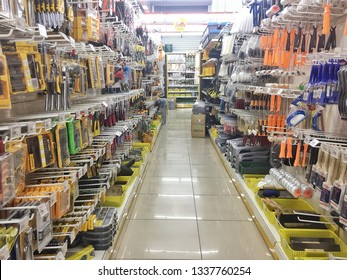 Pahang, Malaysia 2 mac 2019 -Many carpentry tools are sold in supermarkets