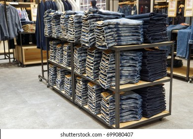 Pahang, Malaysia - 5th August 2017 2017: Jeans on display inside a Levi's store. Levi Strauss & Co. is a privately owned American clothing company known worldwide for its Levi's brand of denim jeans.