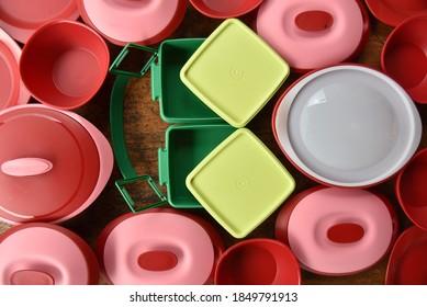 Pahang, Malaysia : 8th November 2020 - Tupperware serving set and small goody box with cariolier.