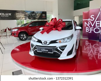 PAHANG, MALAYSIA -  April  15: The TOYOTA All New Vios is on display at the toyota show room with display new shape and design for family car in 2019