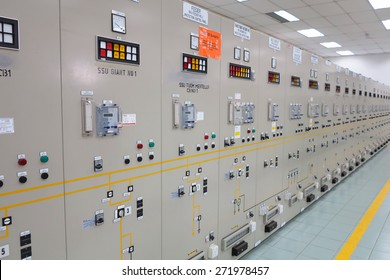 Pahang, Malaysia - April 21 : control panel of conveyor on production of concrete mix for production of construction plates on April 21, 2015 in Pahang, Malaysia
