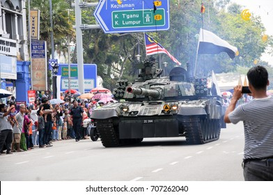 Pahang, Malaysia - August 31, 2017: Military vehicle parade with Malaysian flag during the 60th anniversary of the National Independence Day held in Pahang, Malaysia.