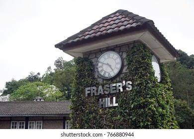 Pahang, Malaysia : Dec 1st 2017 - A Fraser's Hill clock tower with a vintage architecture