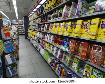 PAHANG, MALAYSIA - DECEMBER 23TH 2018 : Bookstore shelves with new books and magazines are ready for sale.