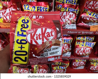 PAHANG, MALAYSIA - FEBUARY 27TH 2019 : Kit Kat is a chocolate covered wafer bar created in 1911 by Rowntree's of York, England. Nestle which acquired Rowntree in 1988 now sells Kit Kat globally.