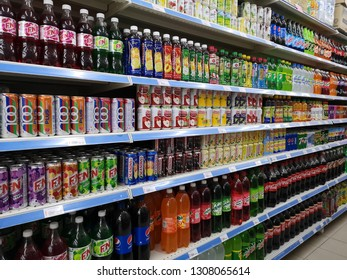 PAHANG , MALAYSIA - January 15 2019 : Bottled soft drinks on shelves in a supermarket.