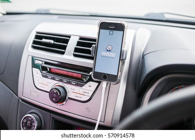 PAHANG, MALAYSIA - JANUARY 31, 2017 - GPS application Waze running on Apple Iphone SE in a car. Waze is one of the most popular GPS applications.